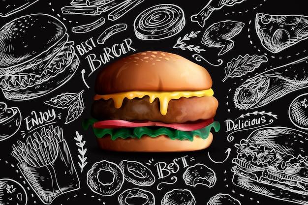 Delicioso hambúrguer realista no fundo do quadro Vetor grátis