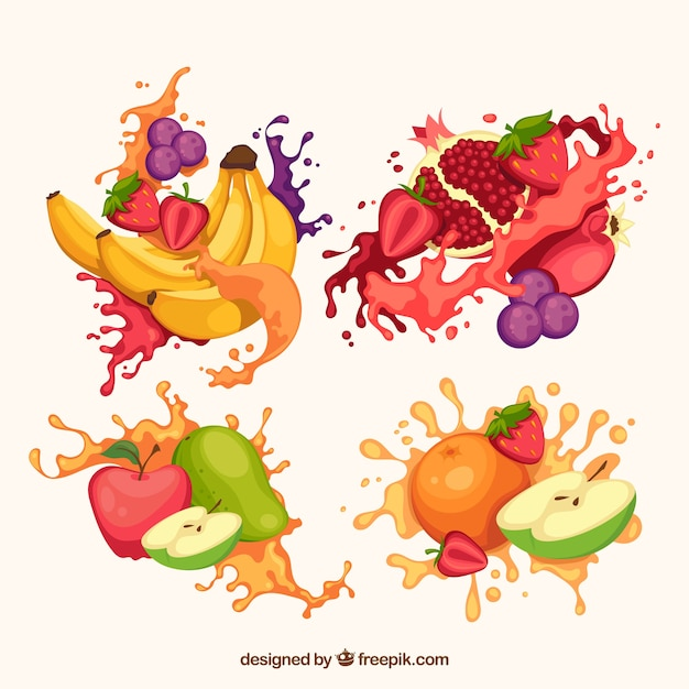 Delicioso suco espirra coleção com frutas Vetor grátis