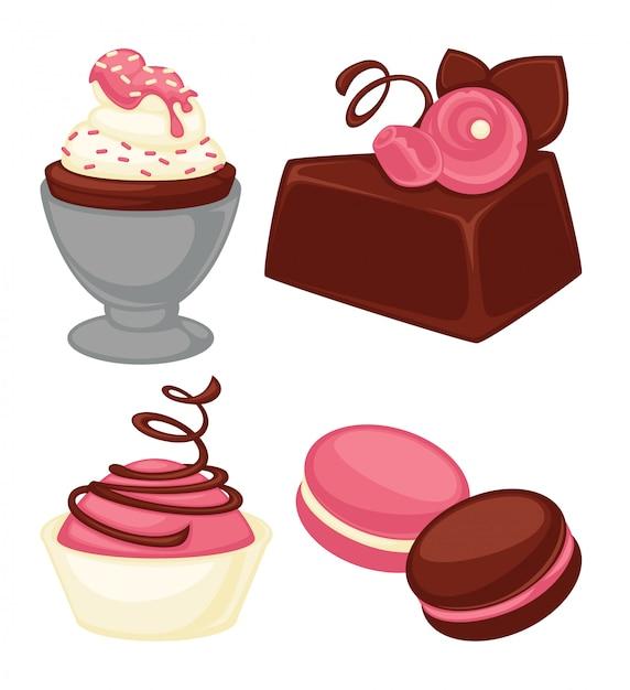 Deliciosos bolos, bolinhos macios e conjunto de macarons crocantes Vetor Premium