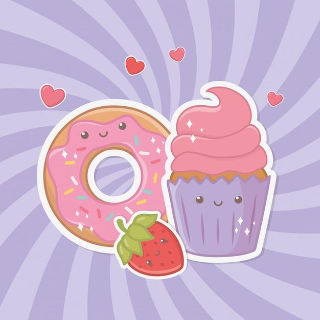 Deliciosos e doces donuts e produtos kawaii Vetor grátis