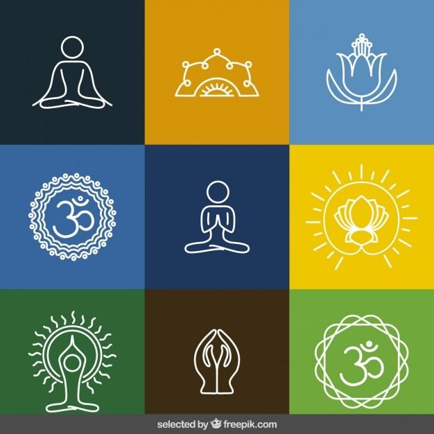 Delineado coleção ícones da ioga Vetor grátis