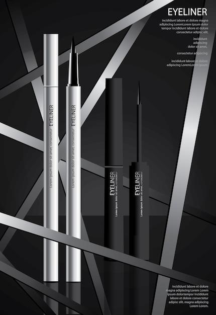 Delineador cosmético com design de cartazes de embalagem Vetor Premium