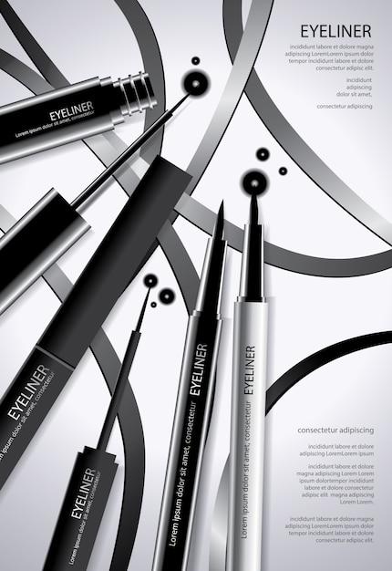 Delineador cosmético com embalagem Vetor Premium