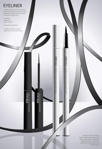 Delineador cosmético com poster de embalagem Vetor Premium