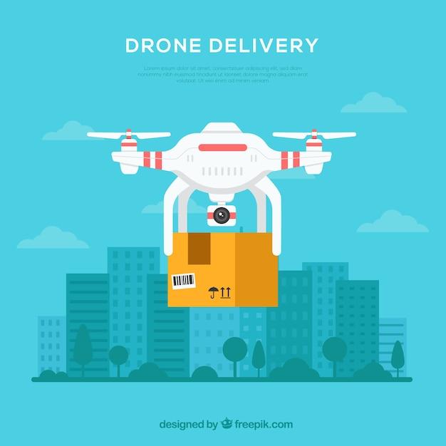Delivery drone na cidade Vetor grátis