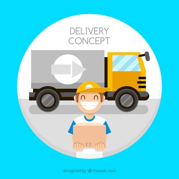 Deliveryman smiley e caminhão grande Vetor grátis