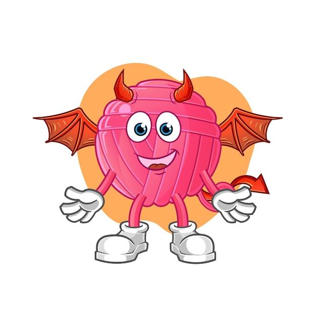 Demônio de bola de fios com caráter de asas. mascote dos desenhos animados Vetor Premium