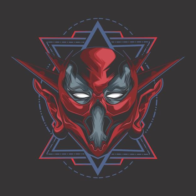 Demônio vermelho Vetor Premium