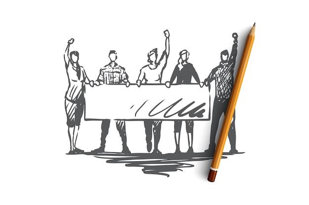 Demonstração, motins, conceito de comícios. pessoas com sinais nas mãos participando de rali. ilustração de esboço desenhado à mão Vetor Premium