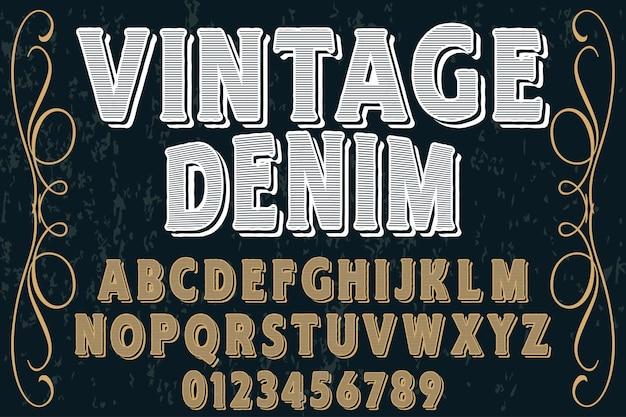 Denim do vintage do projeto da etiqueta da pia batismal Vetor Premium