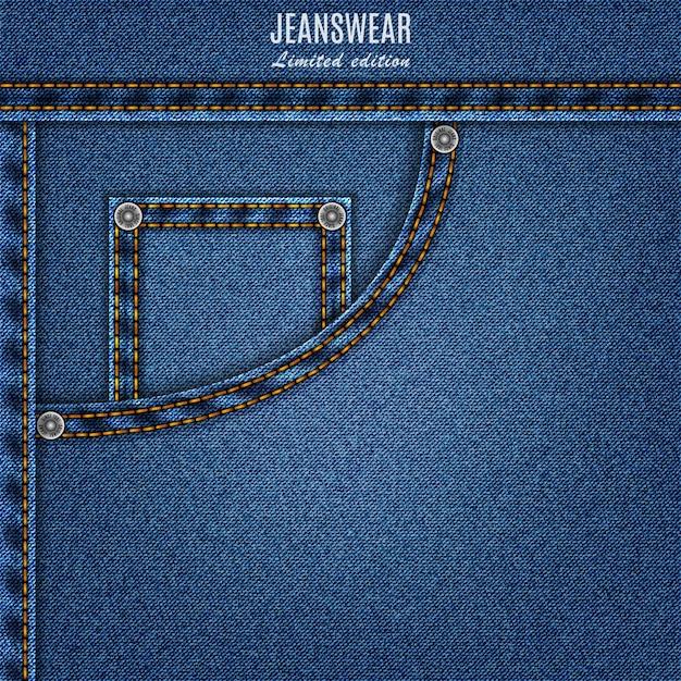 Denim textura cor azul com bolso e ponto. fundo de calça jeans para seu projeto Vetor Premium