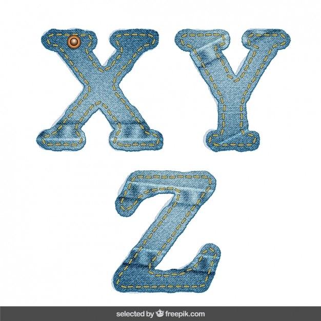 Denim xyz alfabeto Vetor grátis