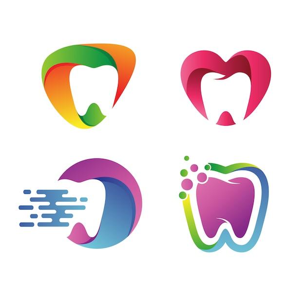 Dental logo vector set Vetor Premium
