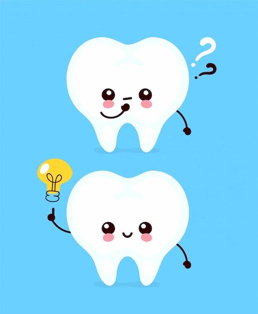 Dente bonito com ponto de interrogação e personagem de lâmpada. ícone de ilustração de personagem de desenho animado plana. isolado no branco dentes têm idéia Vetor Premium