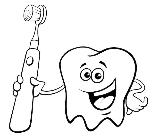 Dente Com Escova De Dentes Desenho Animado Cor Livro Vetor Premium
