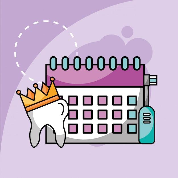 50d2bd8a9 Dente de escova de dentes elétrica e planejamento de calendário Vetor  Premium