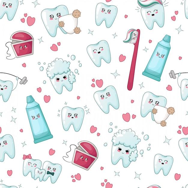Dente de kawaii padrão sem emenda, fio dental, creme dental, escova de dentes Vetor Premium