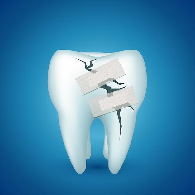 Dente em azul doente Vetor Premium