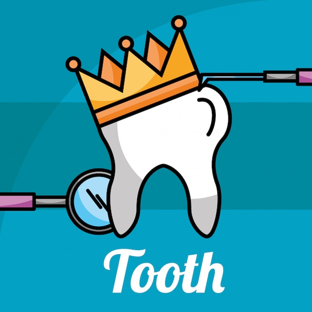 Dente em coroa de ferramentas de atendimento odontológico Vetor Premium