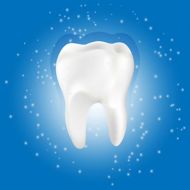 Dente saudável com efeito brilhante, conceito de clareamento de dentes Vetor Premium
