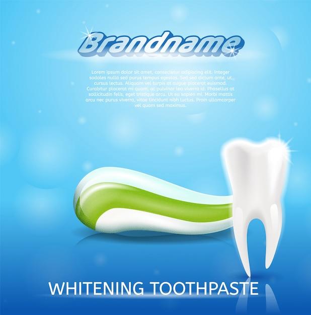 Dente saudável imagem realista e creme dental em 3d Vetor Premium