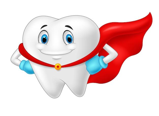 Dente saudável super-herói feliz Vetor Premium