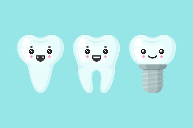 Dentes bonitos coloridos com diferentes emoções. forma de dente diferente. ilustração dos desenhos animados dente isolado. Vetor Premium