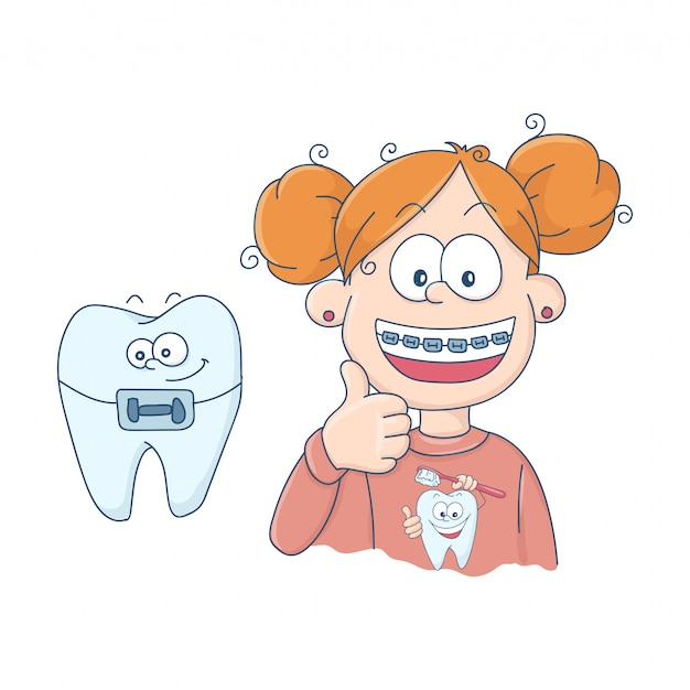 Dentes com aparelho. Vetor Premium