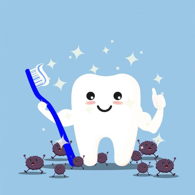 Dentes com escova de dentes se limpando Vetor Premium
