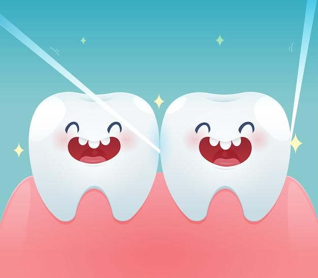 Dentes de desenhos animados com fio dental para cuidados de saúde Vetor Premium