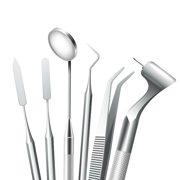 Dentes de equipamentos médicos odontológicos ferramentas de aço definido realista Vetor grátis