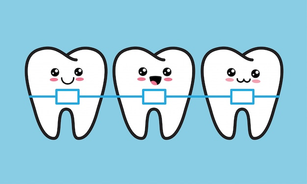 Dentes felizes kawaii bonito com aparelho de metal. tratamento ortodôntico, correção da mordida ou conceito de alinhamento da mandíbula Vetor Premium