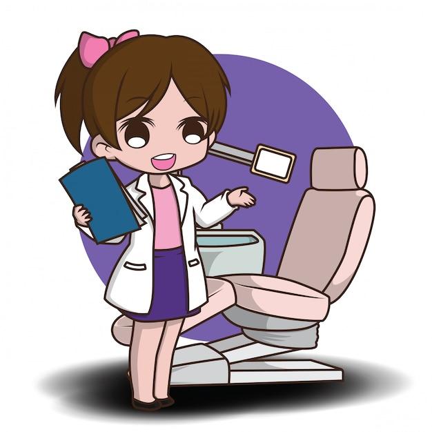 Dentista bonito dos desenhos animados segurando as ferramentas do dentista Vetor Premium
