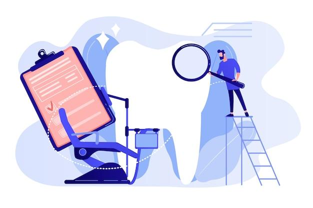 Dentista com lupa na escada, examinando o dente enorme do paciente e a cadeira odontológica. odontologia privada, serviço odontológico, conceito de clínica odontológica privada. ilustração em vetor de vetor azul coral rosado Vetor grátis