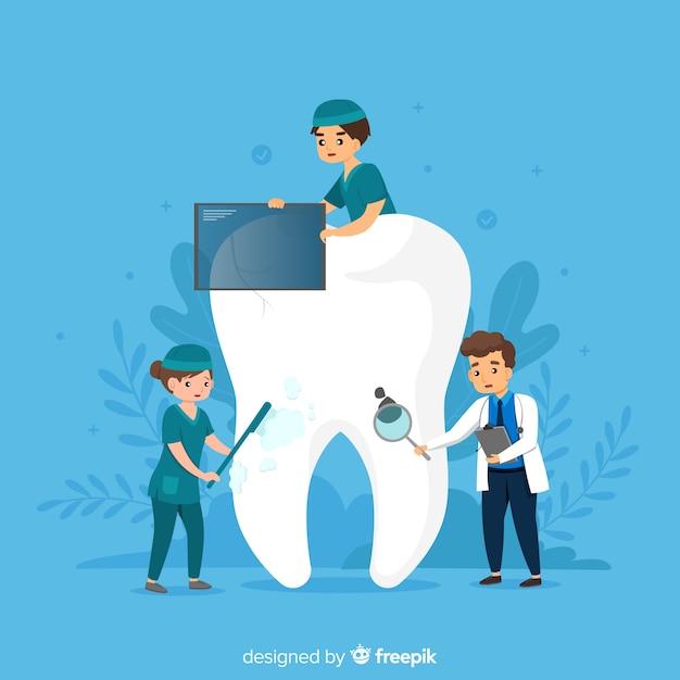 Dentista, cuidando de um fundo de dente Vetor Premium
