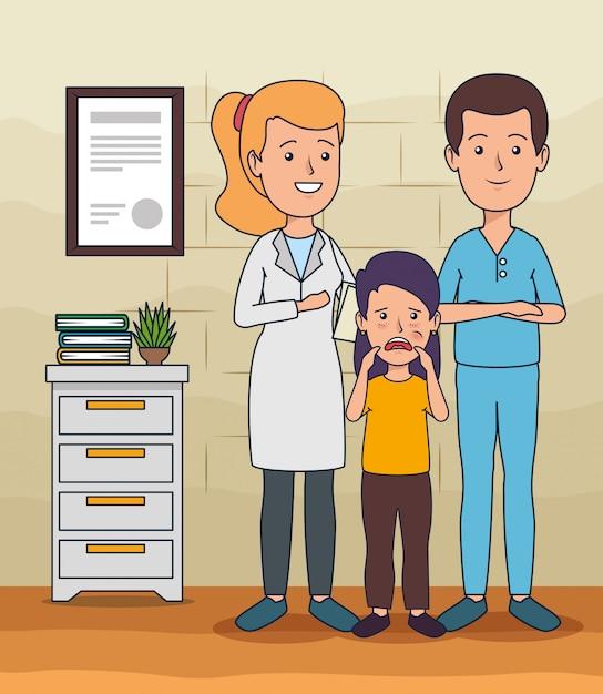 Dentista homem com mulher e menina com dor de dente Vetor grátis