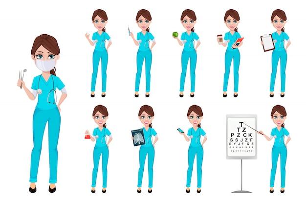Dentista mulher segurando ferramentas, conjunto de dez poses Vetor Premium