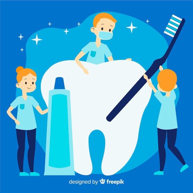 Dentista plana, cuidando de um fundo de dente Vetor grátis