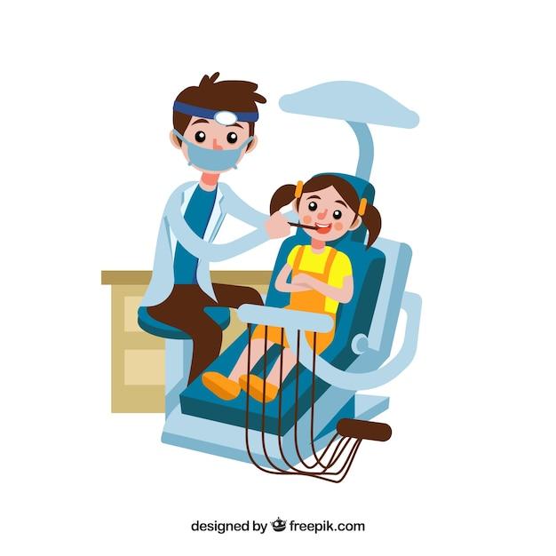 Dentista, tratando, criança Vetor grátis