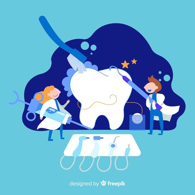 Dentistas, cuidando de um fundo de dente Vetor grátis