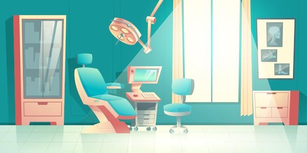 Dentistas escritório cartoon vector vazio interior com cadeira confortável Vetor grátis