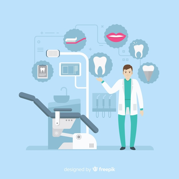 Dentistas planos, cuidando de um fundo do dente Vetor grátis