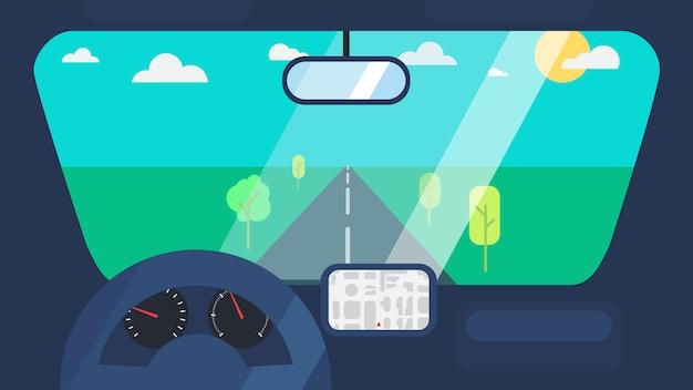 Dentro do interior do carro Vetor Premium