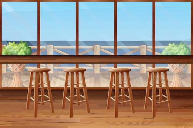 Dentro do restaurante com banquinhos e bar Vetor Premium