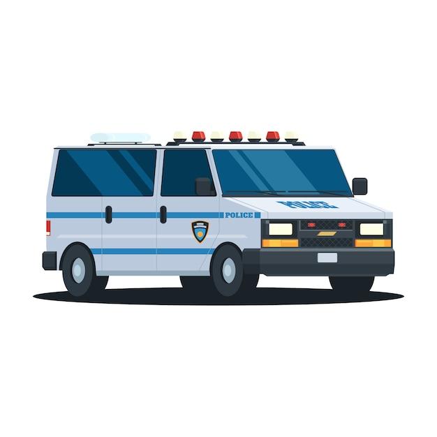 Departamento de polícia de van Vetor Premium