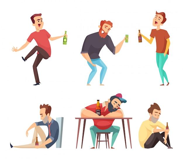 Dependência alcoólica. viciado em povos alcoolismo e drogas, bebendo pessoa cerveja vodka whisky abuso caracteres isolados Vetor Premium