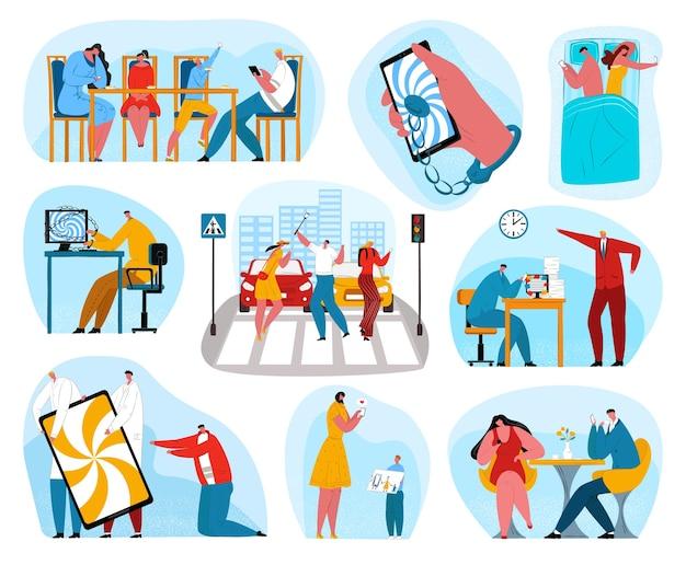 Dependência do telefone digital. pessoas viciadas em redes sociais no celular. jovem Vetor Premium