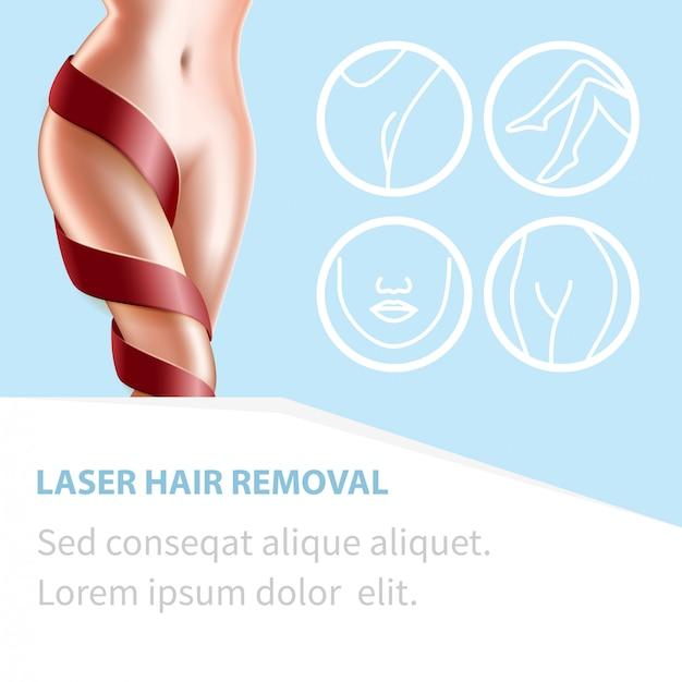 Depilação a laser procedimento de beleza corpo perfeito Vetor Premium