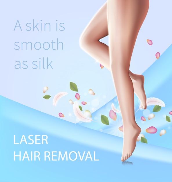 Depilação a laser, procedimento de beleza, pernas femininas Vetor Premium