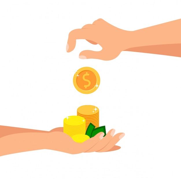 Deposit coins flat cartoon ilustração vetor Vetor Premium